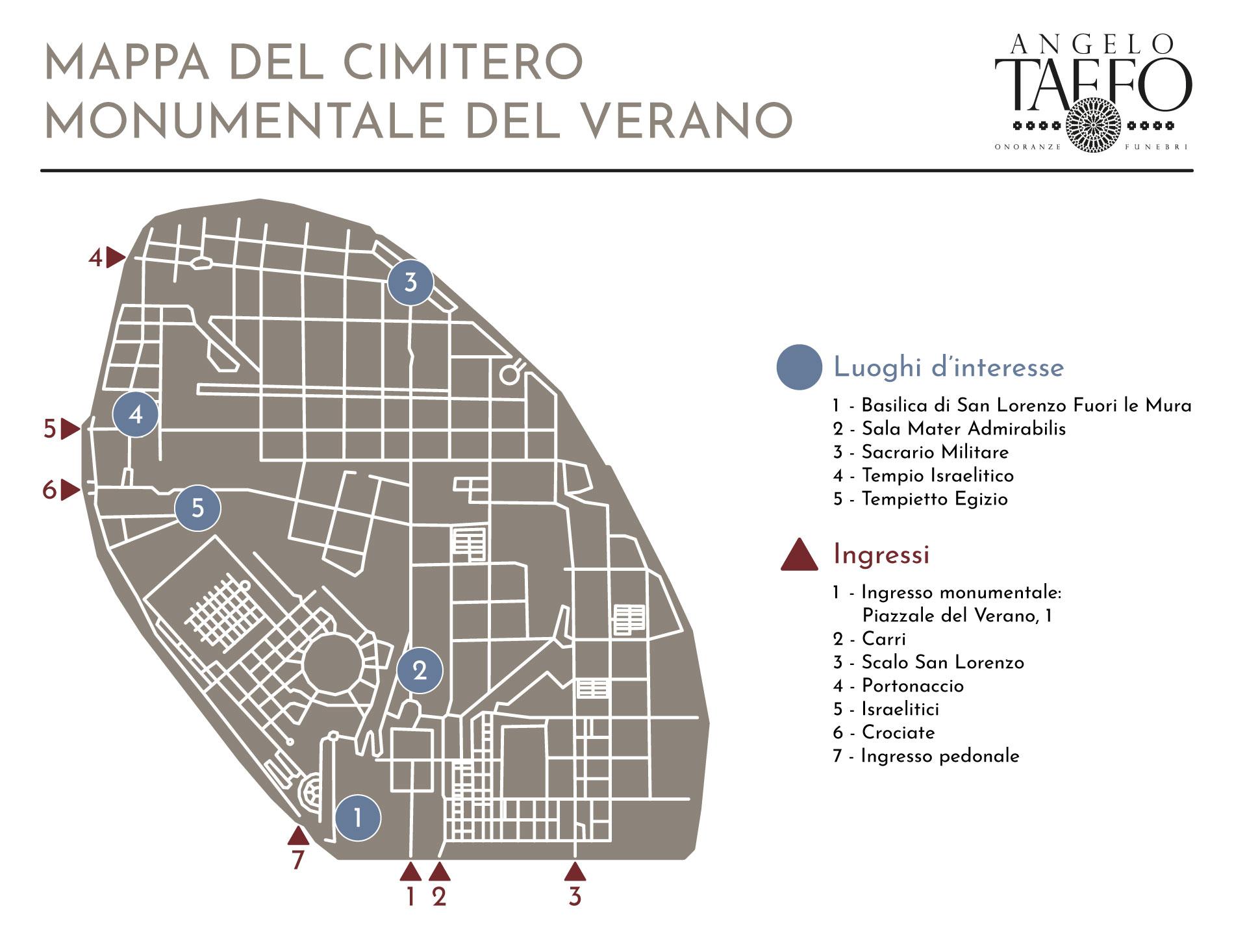 Taffo Onoranze Funebri - Mappa Del Cimitero Monumentale Del Verano