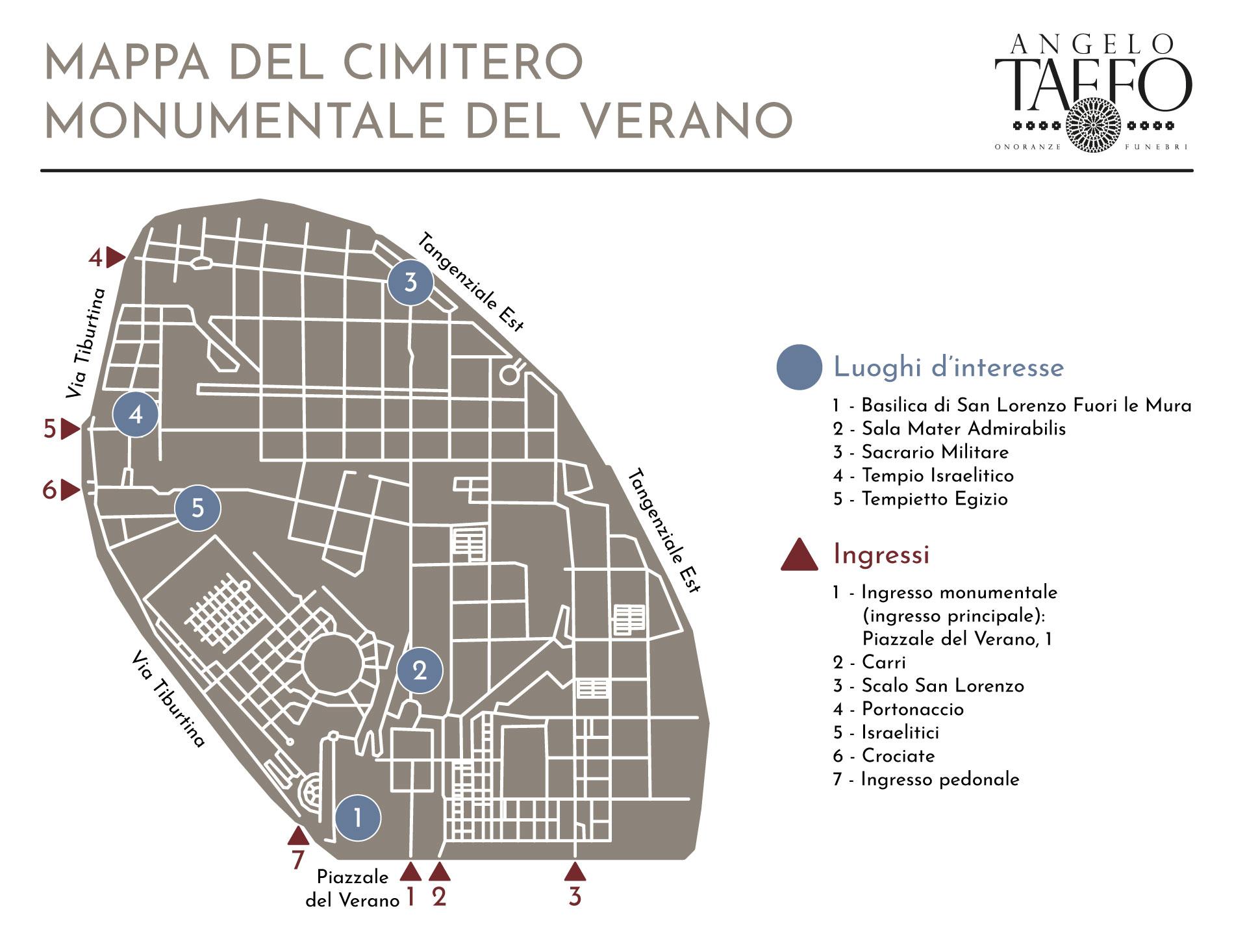 Taffo Onoranze Funebri Mappa Del Cimitero Monumentale Del Verano